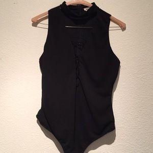 Black deep v lace up bodysuit